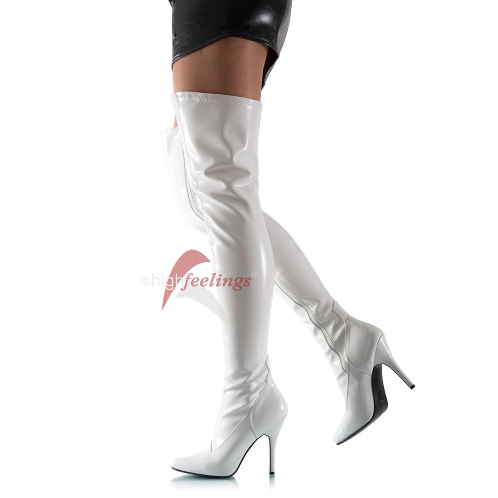 weisse high heels overknees stretch stiefel eu 36 47 ebay. Black Bedroom Furniture Sets. Home Design Ideas