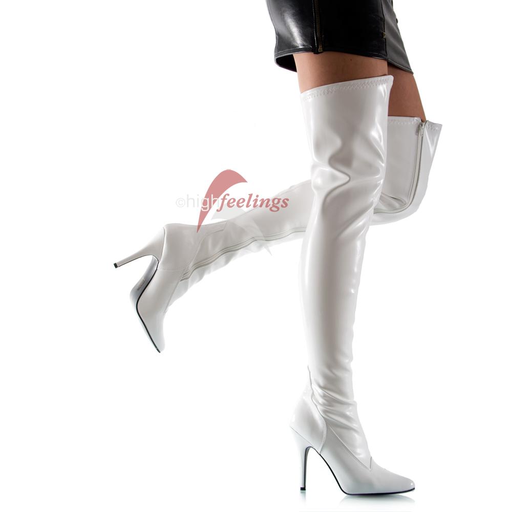 weisse high heels overknees stretch stiefel eu 36 47. Black Bedroom Furniture Sets. Home Design Ideas
